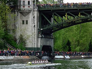 Washington Huskies - Men's crew competing in the 2011 Windermere Cup at the Montlake Cut, Seattle