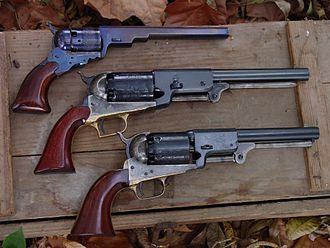 A. Uberti, Srl. - Uberti Percussion revolver including top to bottom, Colt Paterson, Colt Walker, Colt 3rd Variation Revolving Holster Pistol (Dragoon)