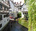 Ulm - Fischerviertel, Blauinsel, Lebensfreude am Wasser.JPG