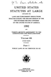 United States Statutes at Large Volume 106 Part 1.djvu