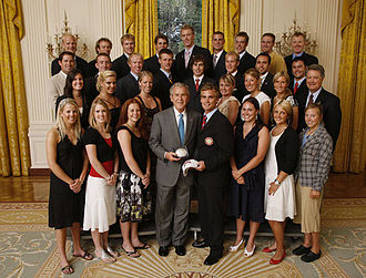 Denver Pioneers - The Pioneers men's and women's ski teams are honored at the White House by President of the United States George W. Bush in June 2008 for their winning the 2008 National Collegiate Athletic Association team championship, their nineteenth skiing national title.