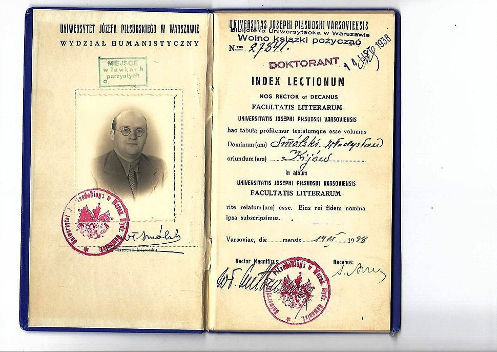 University study booklet issued to Polish Righteous Among the Nations Wladyslaw Smolski in 1938