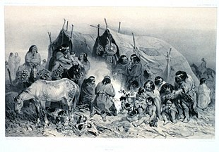 "1840s illustration (somewhat idealised) of indigenous Patagonians from near the Straits of Magellan; from ""Voyage au pole sud et dans l'Oceanie ....."" by French explorer Jules Dumont d'Urville"