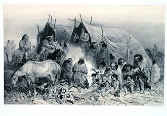 "Patagonia - 1840s illustration of indigenous Patagonians from near the Straits of Magellan; from ""Voyage au pole sud et dans l'Océanie ....."" by French explorer Jules Dumont d'Urville"