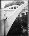 VIEW OF NORTH TRUSS, WITH BRIDGE PLATE - Spring Street Bridge, Spanning Duncan Creek, Chippewa Falls, Chippewa County, WI HAER WIS,9-CHIFA,2-6.tif