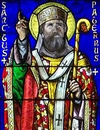 Vannes - cathédrale, vitrail des saints Patern et Mériadec Detail Padarn.jpg