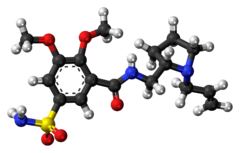 Ball-and-stick model of the veralipride molecule
