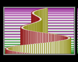 "Raster bar - Example of vertical raster bars from Angel's ""Coppermaster"" Amiga demo, with horizontal raster bars in the background"