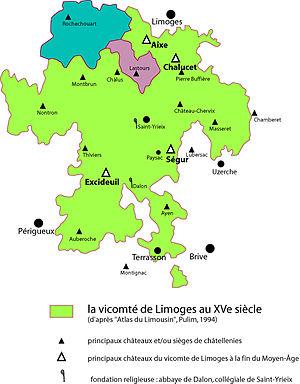 "Viscounty of Limoges - South of Dalon Abbey, we find Hautefort, and south of Lubersac, we find Pompadour. Although the two Lastours strongholds belong to the ""Limoges land princes"" (princes de la terre limousine), they have less power than the viscount families : Limoges, Comborn, Turenne, Ventadour, Comborn, Aubusson, Rochechouart."