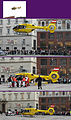 Vienna 2011-04-11 Christophorus 9 (Air Rescue helictopter taking off' from Stephansplatz, Vienna. - please read image from bottom to upright).jpg
