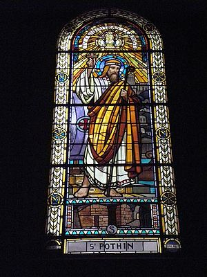 Saint Pothinus - Stained glass window depicting Pothinus.  Église Saint-Pothin, Lyon.