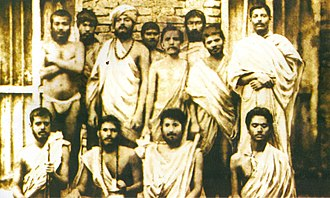 Swami Vivekananda - Group photo taken on 30 January 1887 in Baranagar Math, Kolkata. Standing: (l–r) ) Shivananda, Ramakrishnananda, Vivekananda, Randhuni, Debendranath Majumdar, Mahendranath Gupta (Shri M), Trigunatitananda, H.Mustafi  Sitting: (l–r) Niranjanananda, Saradananda, Hutko Gopal, Abhedananda