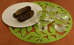 Vodka with pickled cucumber