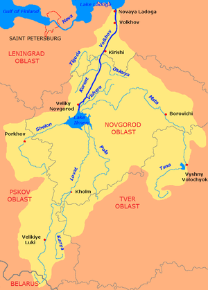 Msta River - The Volkhov River drainage vasin. The Msta is shown on the map.