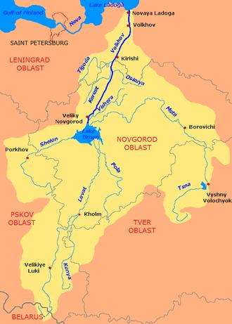 Lake Ilmen - The Volkhov River drainage basin