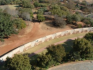 Battle of Blood River - A stone representation at the Voortrekker Monument of the Laager formed at the Battle of Blood River