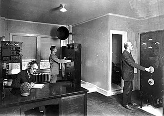 WCCO (AM) - WLAG transmitter room in the Loring Park neighborhood's Oak Grove Hotel, 1920.