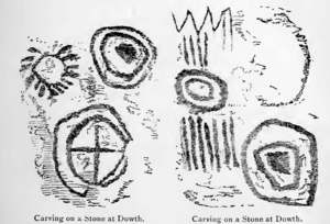 Dowth - Sketches of stone carvings from Dowth