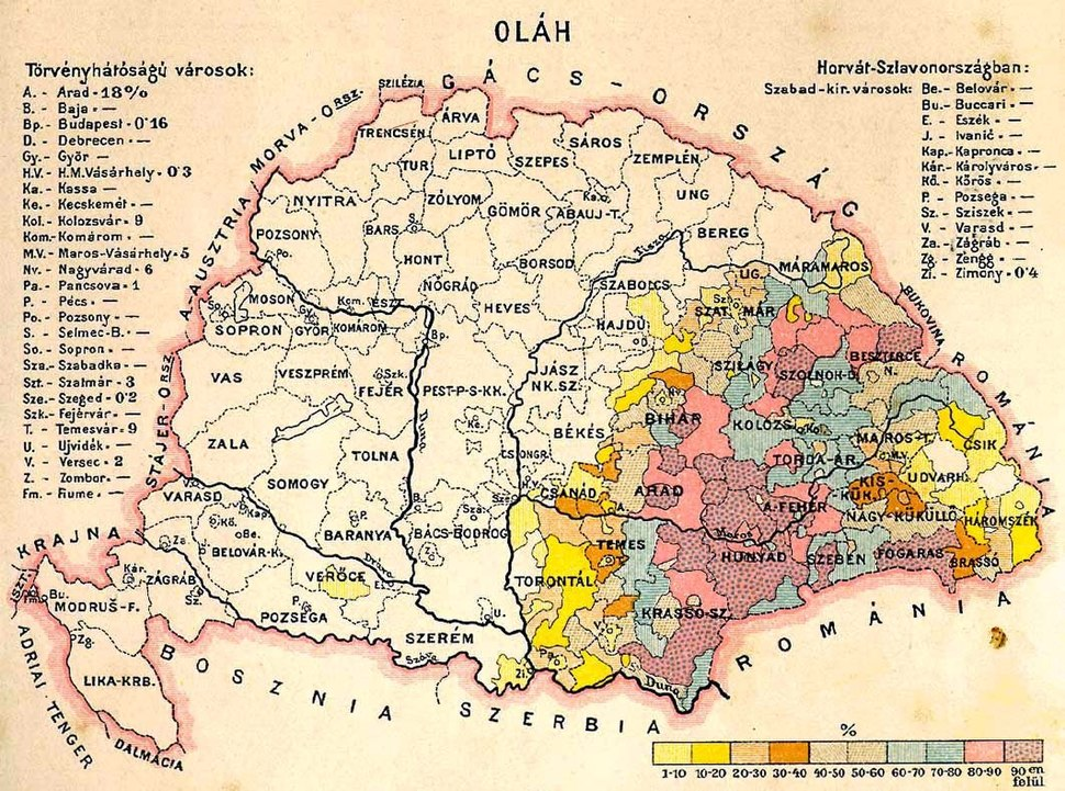 Walachians (Romanians) in Hungary, census 1890