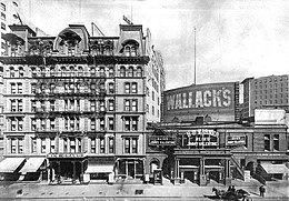Photo of Wallack's 30th Street theater in 1910 with The New Grand Hotel on the left