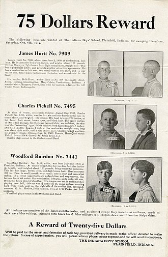 Wanted poster - A wanted poster for escaped boys at Plainfield, Indiana's boys' school, 1917