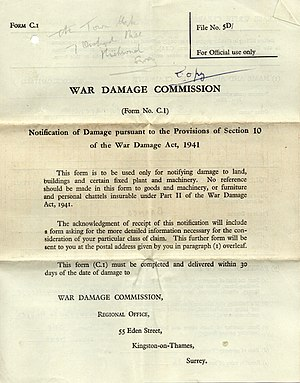 War Damage Commission - War Damage Commission notification form