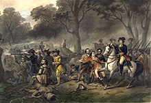 Washington on horseback in the middle of a battle scene with other soldiers