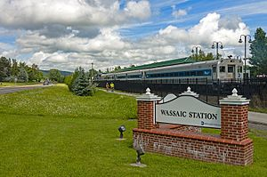 Wassaic (Metro-North station) - Train departing the station, seen from its entrance road to the south
