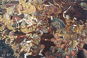 Suryavansha - The Ramayana was adopted by several Asian cultures. This Thai artwork shows the battle of Rama and Ravana.