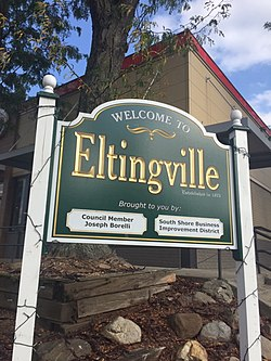 """Welcome to Eltingville"" sign, at Richmond Avenue"