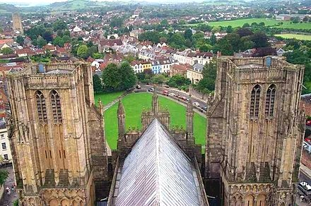 Looking west from the tower of the cathedral Wells from cathedral tower.jpg
