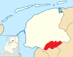 Position of Weststellingwerf in a map of Friesland