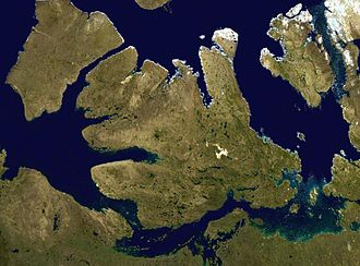 Victoria Strait - Satellite image with the Victoria Strait to the bottom right just above the Queen Maud Gulf