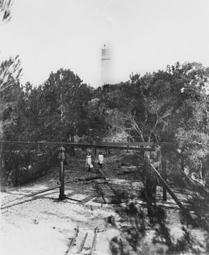 Sandy Cape Light - The whim used for pulling materials to the lighthouse, c. 1903