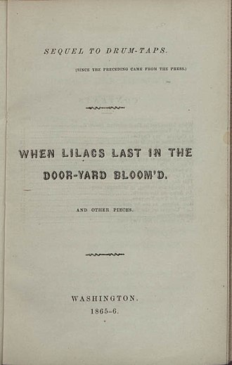 Sequel to Drum-Taps - Title page of the first printing of Sequel to Drum-Taps (1865)