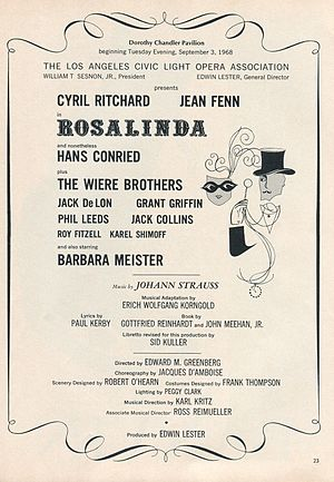 Wiere Brothers - The Wiere Brothers appeared as Frish, Frosh, and Frush in Rosalinda, Los Angeles Civic Light Opera, 1968-69.