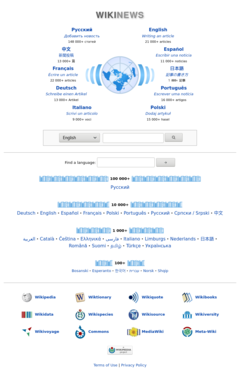 Detail of the Wikinews multilingual portal main page
