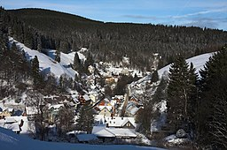 Blick auf das Ortszentrum von Wildemann und das untere Spiegeltal vom Gallenberg