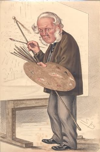 """William Powell Frith - Mr WP Frith RA as portrayed by Spy in Vanity Fair, 10 May 1873. Caption reads """"The Derby-Day""""."""
