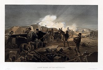 Illustration by William Simpson shows action in a British artillery battery during the Crimean War with cannon firing and being loaded and men bringing in supplies. William Simpson, A Hot Night in the Batteries.jpg