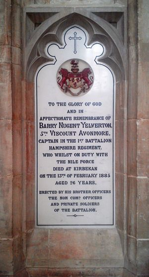 Barry Yelverton, 5th Viscount Avonmore - Winchester Cathedral, memorial for the 5th Viscount Avonmore