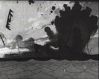 The Sinking of the Lusitania - A still from the film showing the RMS ''Lusitania'' engulfed in smoke after being torpedoed