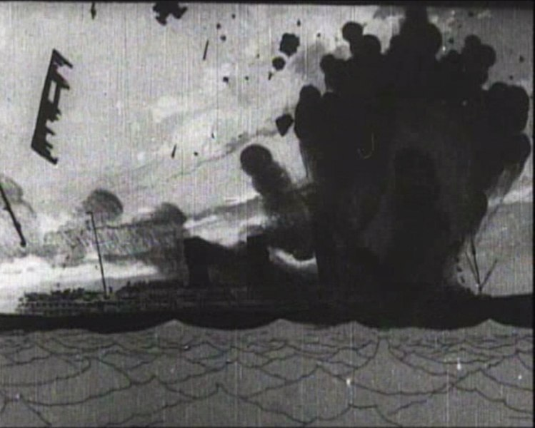 Winsor McCay - The Sinking of the Lusitania still - Lusitania torpedoed