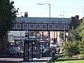 Witton Station - railway bridge - claret and blue (7951213798).jpg