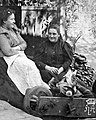 Woman, wheelbarrow, dog, jesting, flower, yard, porch, double portrait Fortepan 8282.jpg