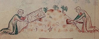 Ferret - Women hunting rabbits with a ferret in the Queen Mary Psalter