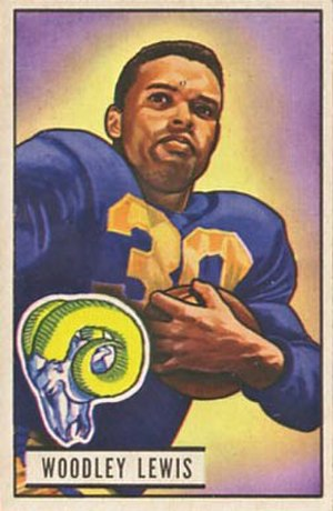 Woodley Lewis - Lewis on a 1951 Bowman football card