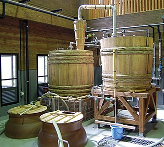 Shōchū - Single Distillation. Wooden pot stills are most often used at smaller distilleries.