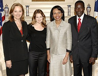 Josette Sheeran Shiner, Barrymore and Paul Tergat meet with Condoleezza Rice