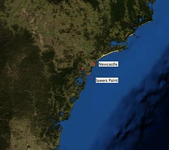 Speers Point, New South Wales - Speers Point in relation to Newcastle (NASA image)